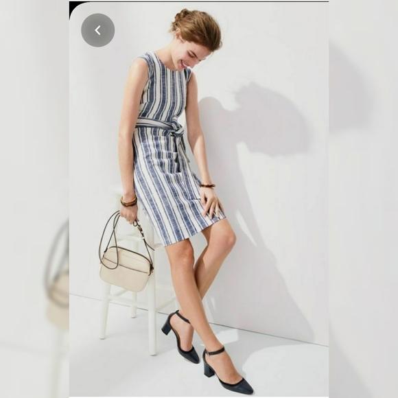 J.Crew Blue&White Striped Belted Linen Dress